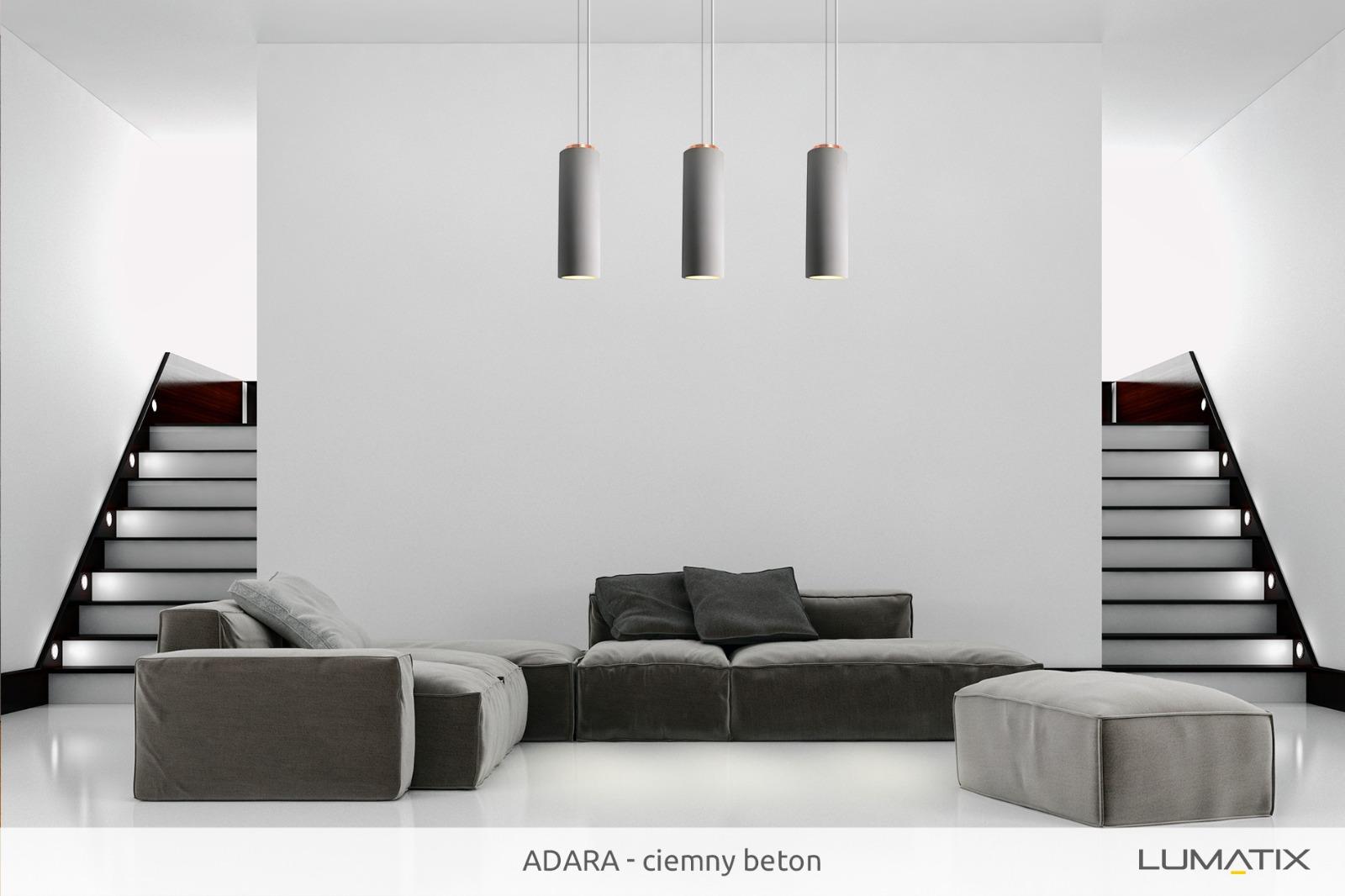 Aranżacja: Lampa Lumatix Adara ciemny szary beton